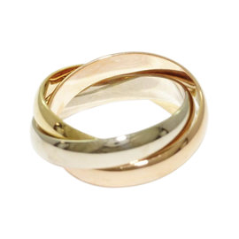 Cartier 18K Yellow White and Rose Gold Trinity Ring Size 4.75