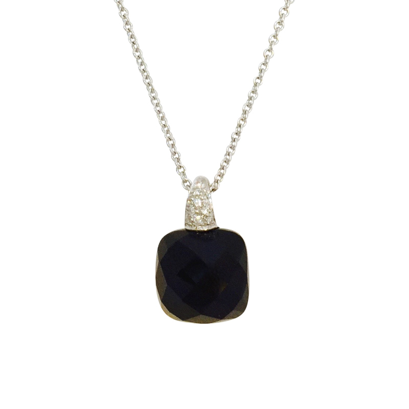 "Image of ""Crivelli 18K White Gold Diamond and Black Onyx Pendant Necklace"""