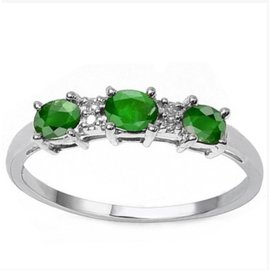 Sterling Silver With Emerald & Diamond Ring Size 7