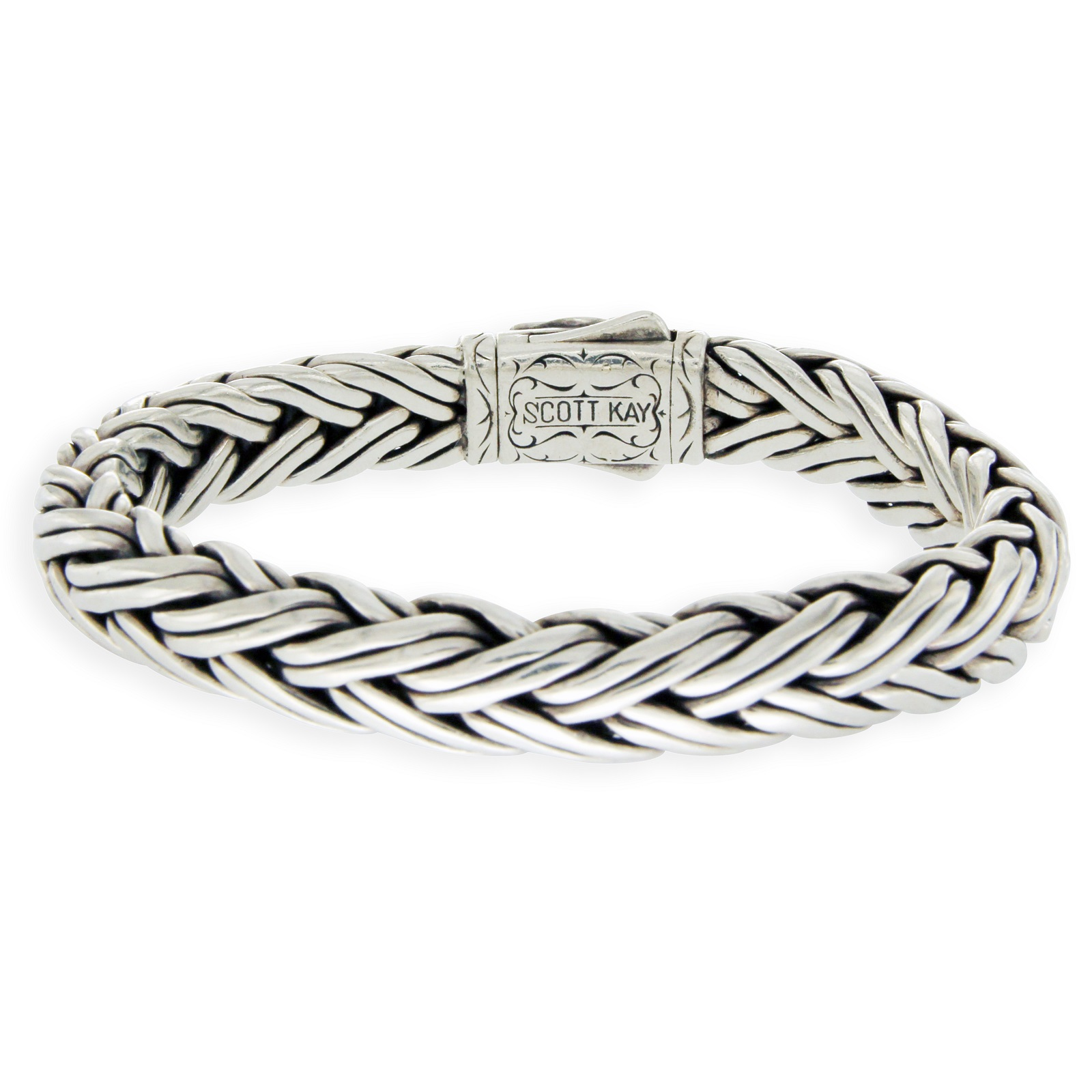 "Image of ""Scott Kay 925 Sterling Silver & 18K Yellow Gold Cable Bracelet"""