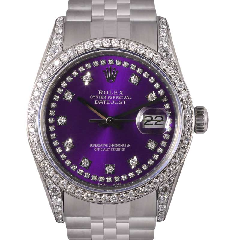 """Image of """"Rolex Datejust Stainless Steel Purple String Diamond Dial, Lugs &"""""""