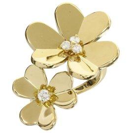 Van Cleef & Arpels 18K Yellow Gold Diamonds Frivole Between the Finger Ring