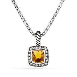 David Yurman Petite Albion Sterling Silver Citrine and 0.17 Ct Diamond Pendant Necklace