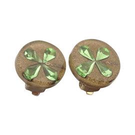 Chanel Resin Four Leaf Clover Clip On Earrings