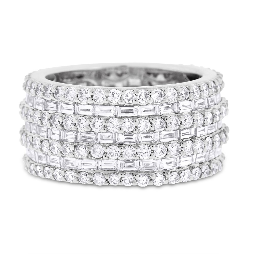 "Image of ""18k White Gold 5.16ct. Diamond Baguette & Round Wide Eternity Band"""