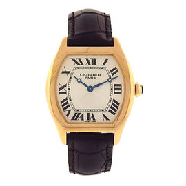 Cartier Tortue 2496C 18K Yellow Gold & Black Leather 34mm Mens Watch