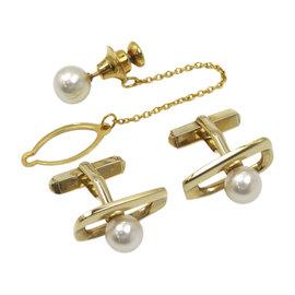 Mikimoto 14K Yellow Gold & Pearl Tie Tack Cuff Set