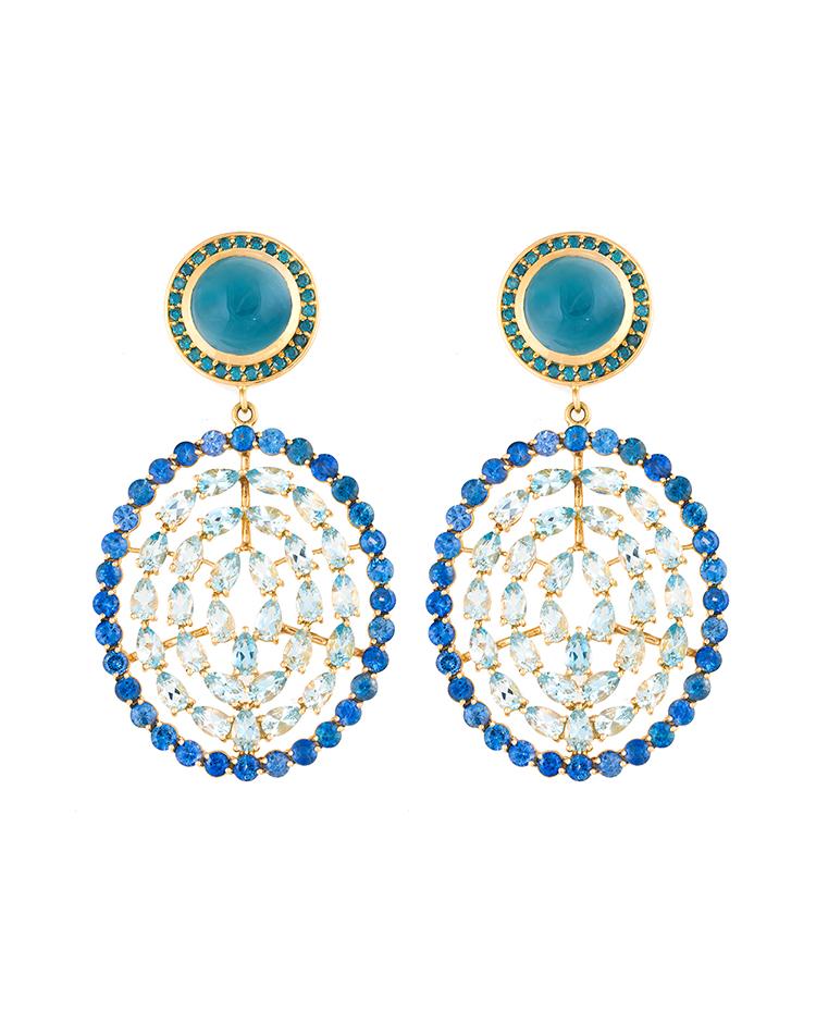 """Image of """"18K Gold Aquamarine Plima Earrings"""""""