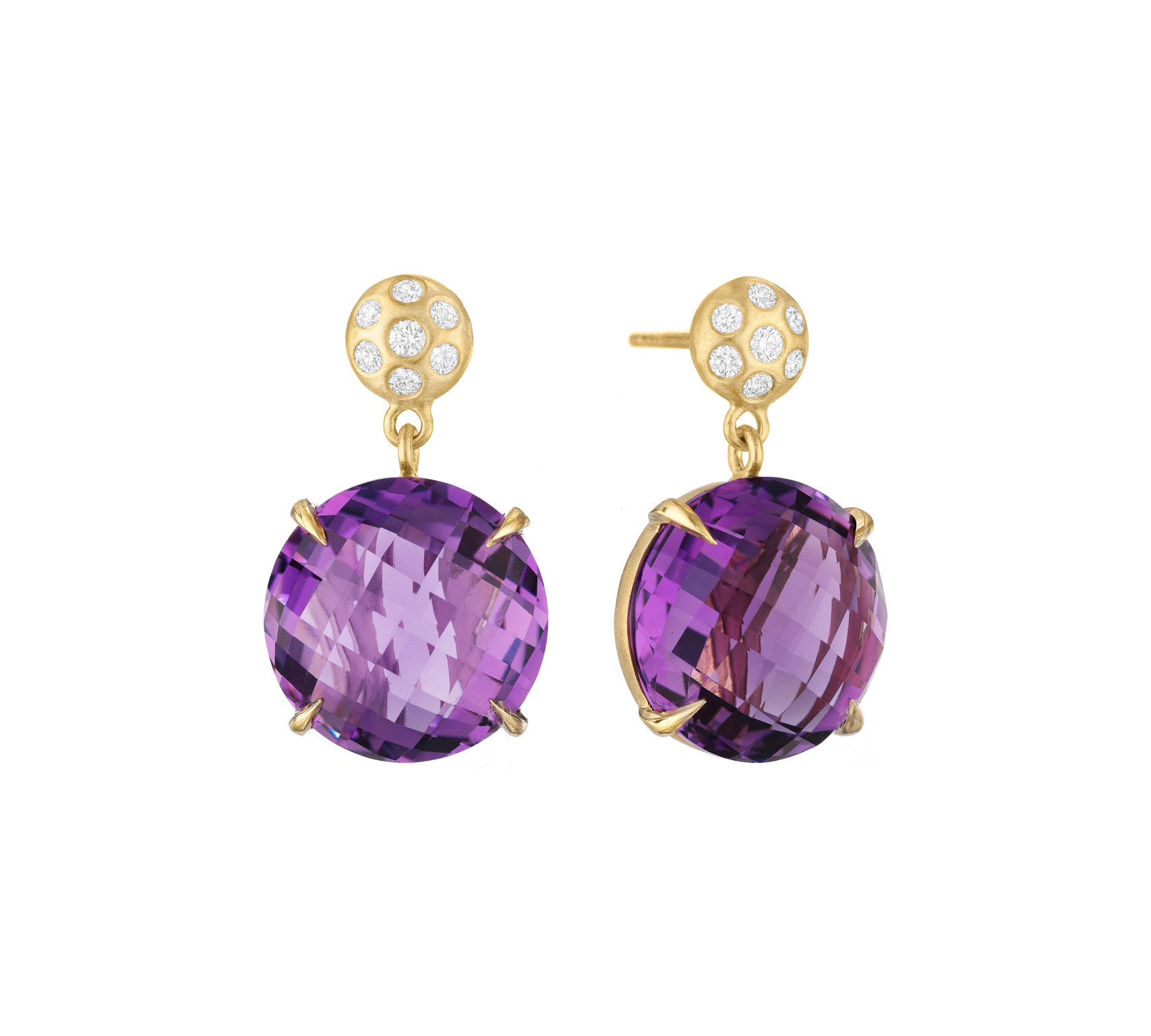 "Image of ""Amethyst and Diamond Post Drop Earrings"""
