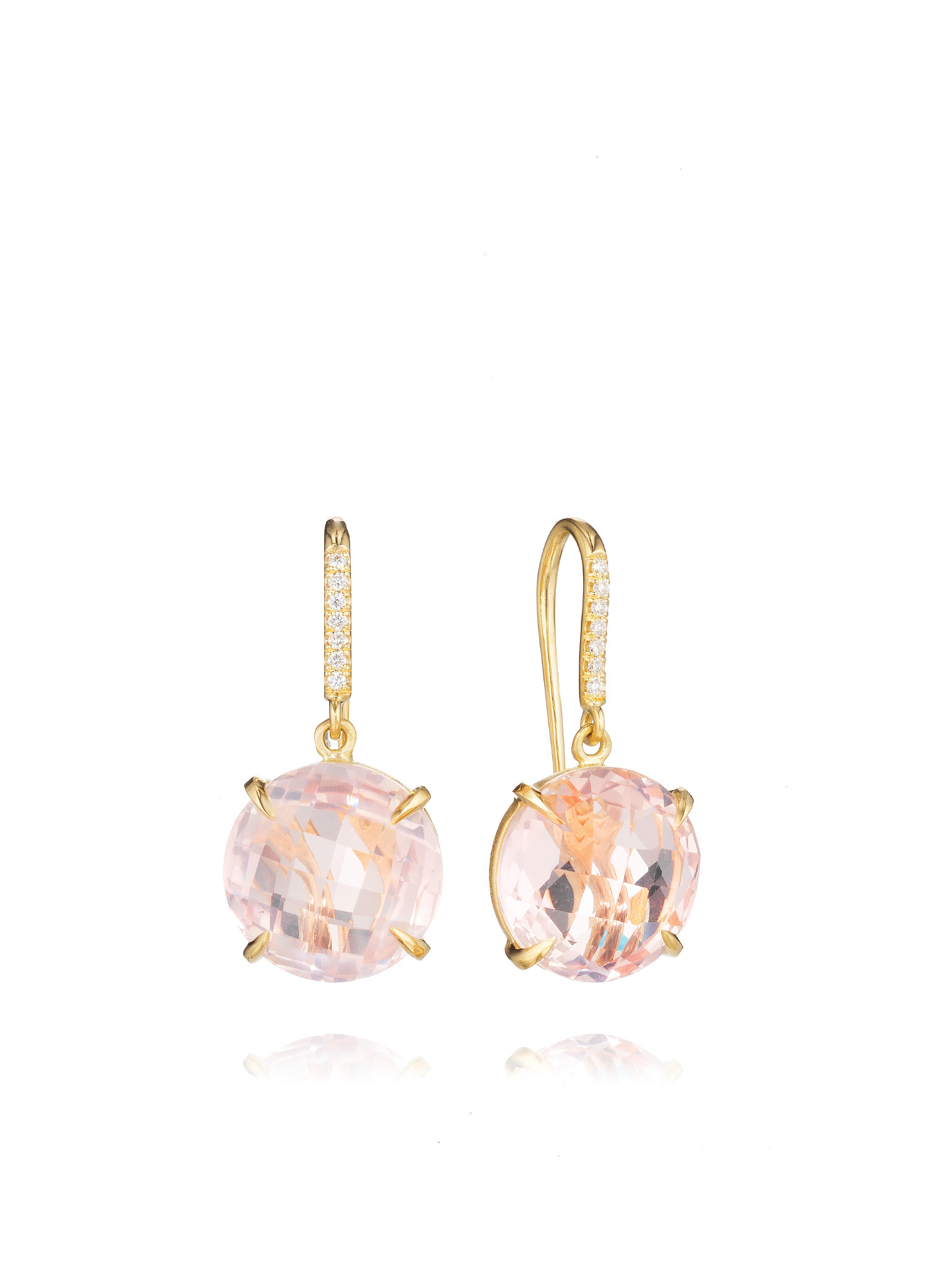 "Image of ""Rose Quartz and Diamond Drop Hook Signature Earrings"""
