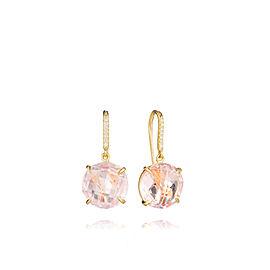 Rose Quartz and Diamond Drop Hook Signature Earrings