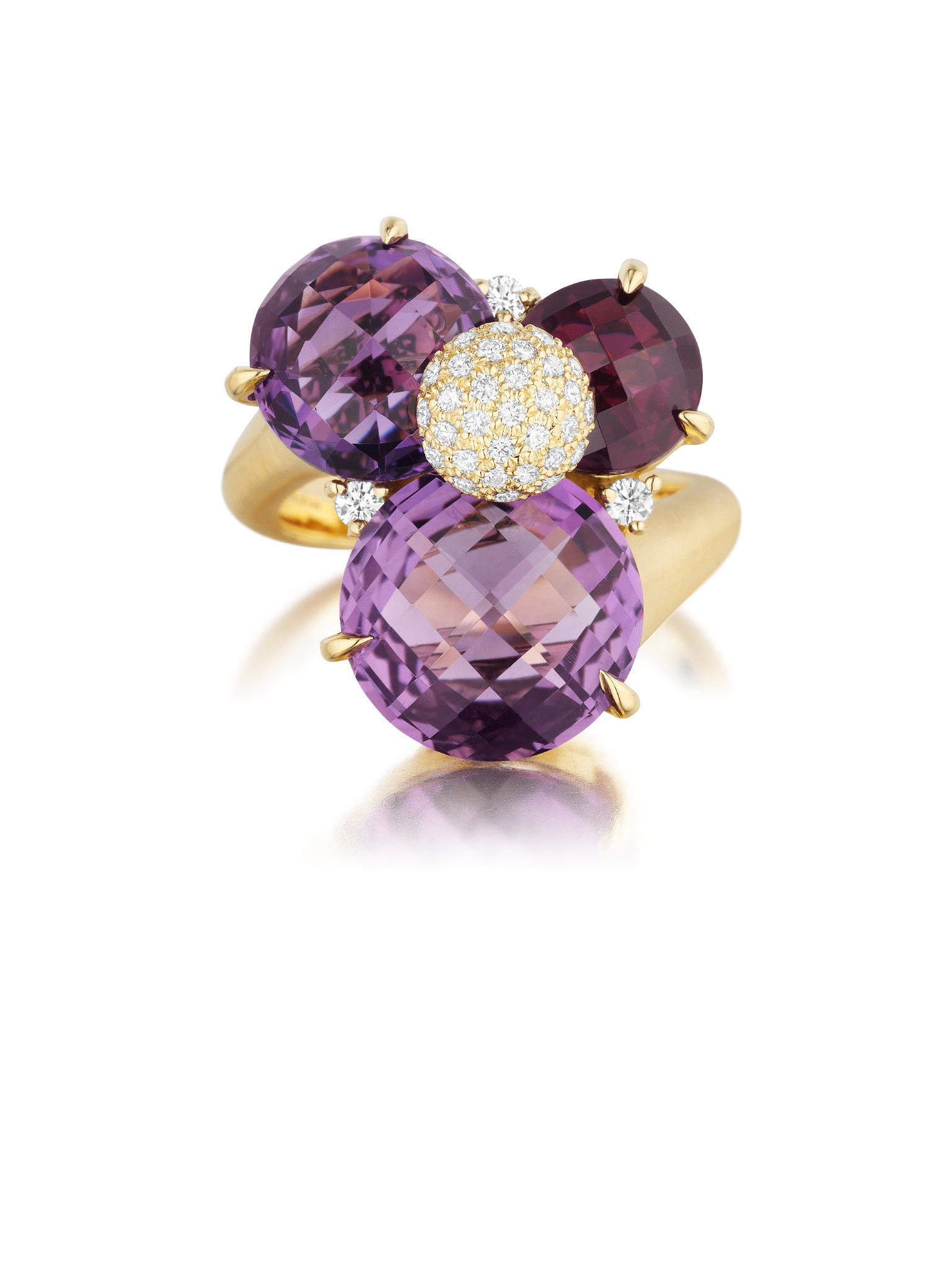 "Image of ""Amethyst, Rhodolite Garnet and Diamond Ring"""