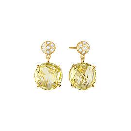Lemon Quartz and Diamond Post Drop Earrings