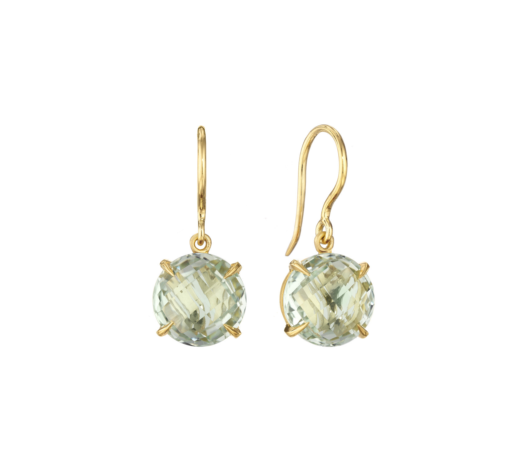 "Image of ""Green Quartz Signature Hook Drop Earrings"""