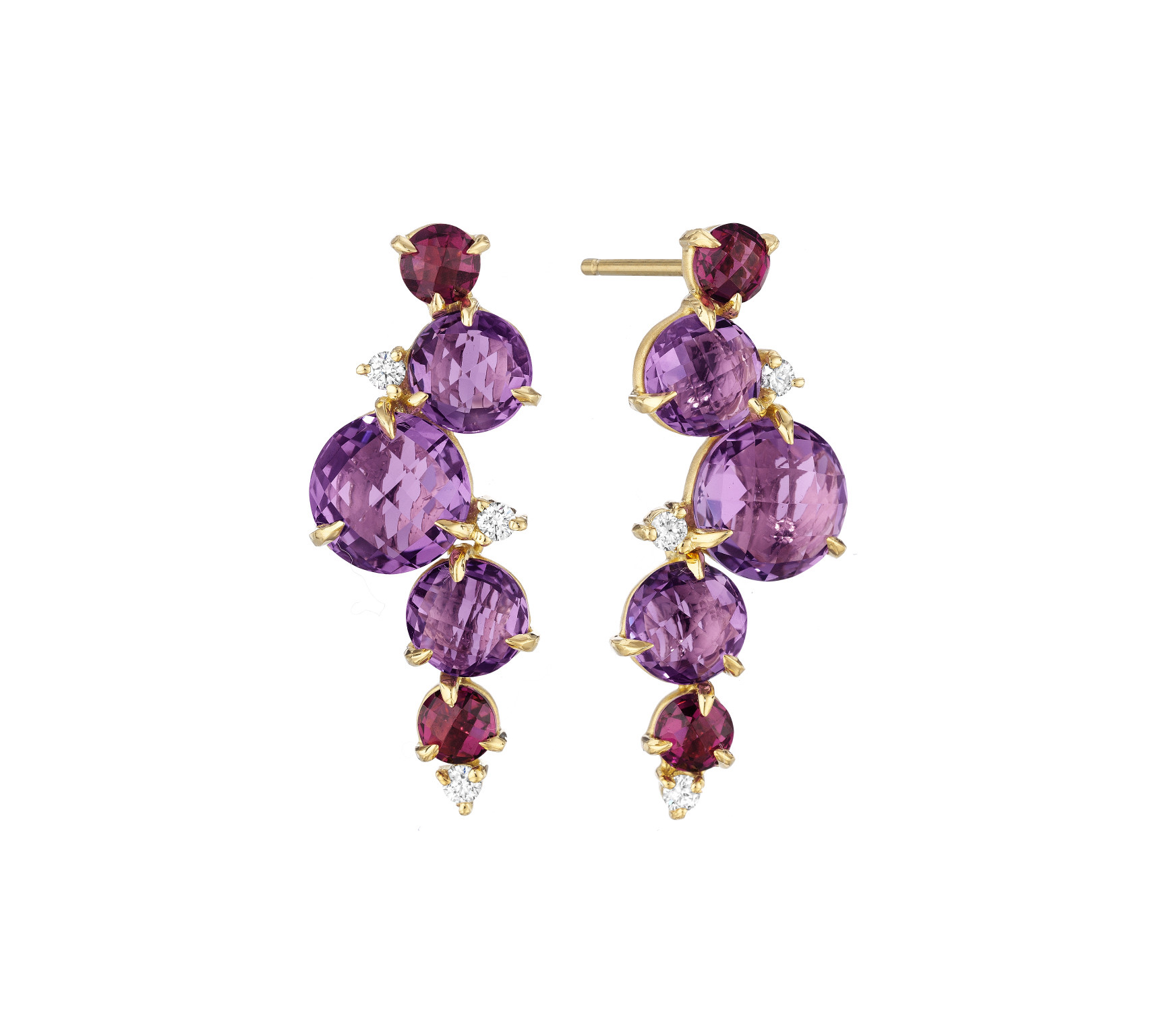 "Image of ""Amethyst, Rhodolite Garnet and Diamond Post Drop Waterfall Earrings"""