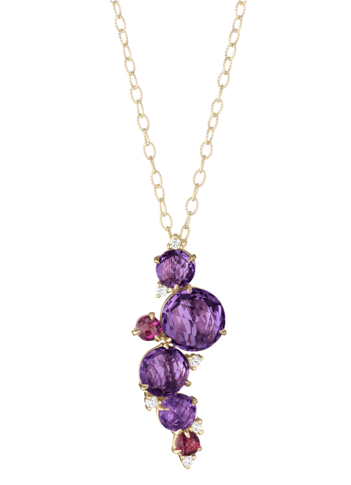 "Image of ""Amethyst, Rhodolite Garnet and Diamond Waterfall Cluster Pendant With"""