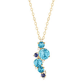 Blue Topaz, Iolite and Diamond Waterfall Cluster Pendant With Articulation 16