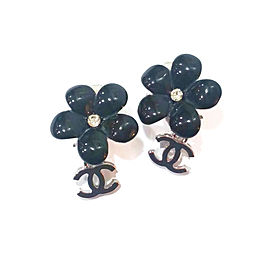 Chanel Black Resin Flower Silver-Tone Metal CC Dangle Earrings