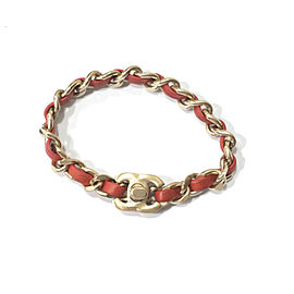 Chanel Gold Chain Coral Orange Leather Turnlock Bracelet