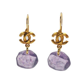 Chanel Gold Plated Metal CC Purple Resin Gemstone Hook Earrings