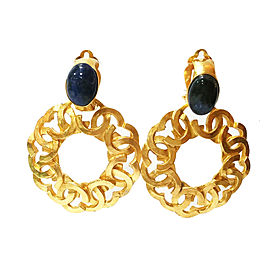 Chanel CC Gold Plated Hoop Lapis Stone Clip On Earrings
