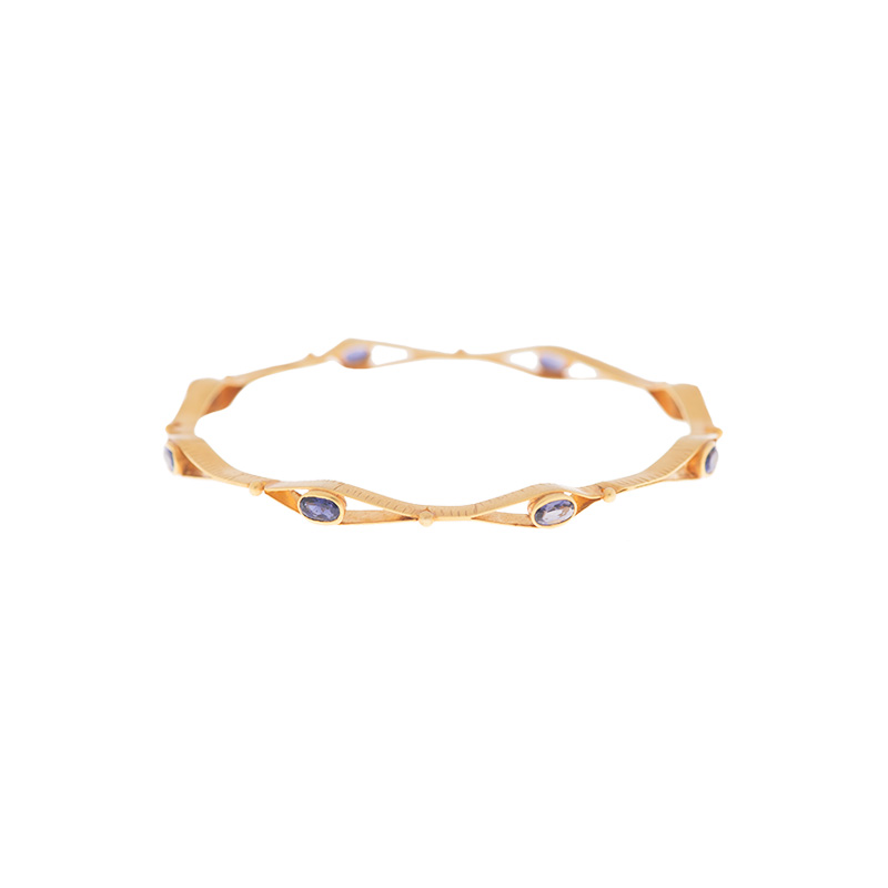 "Image of ""18K Yellow Gold with Iolite Bangle"""