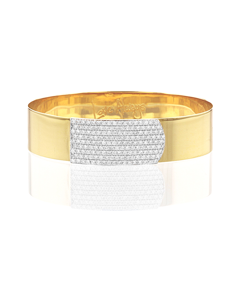 "Image of ""Yellow Gold and Diamond Large Strap Bracelet"""