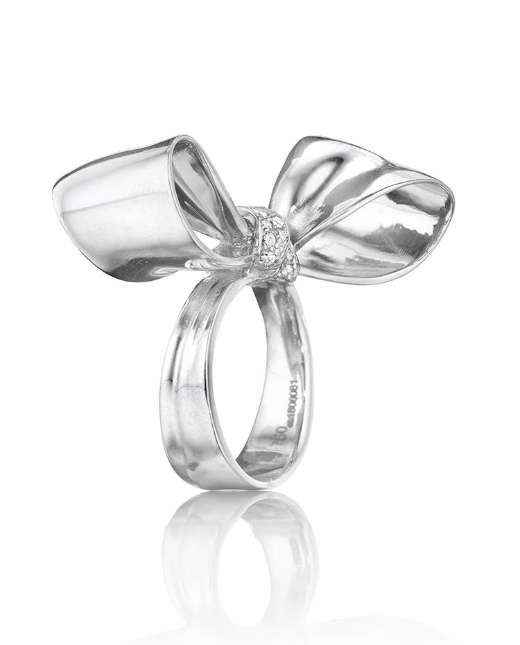 "Image of ""18K Gold Medium Diamond Knot Ring"""