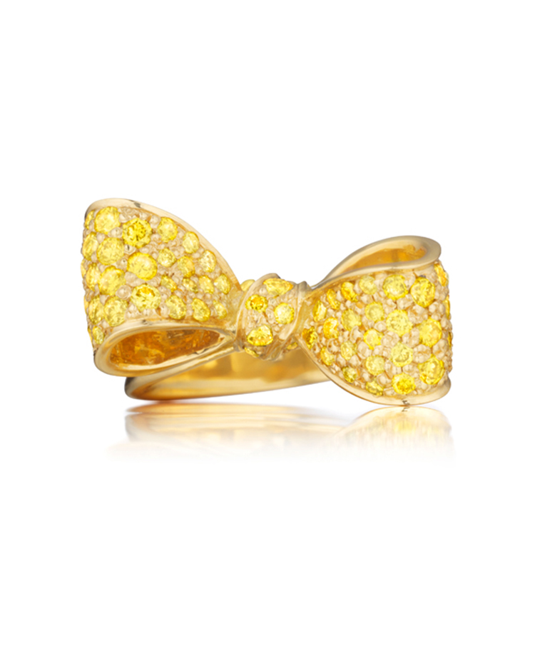 "Image of ""18K Gold Small Bow Gemstone Ring"""