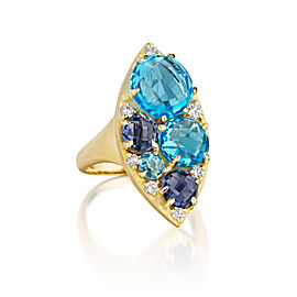 Swiss Blue Topaz, Iolite and Diamond Marquise Cluster Ring