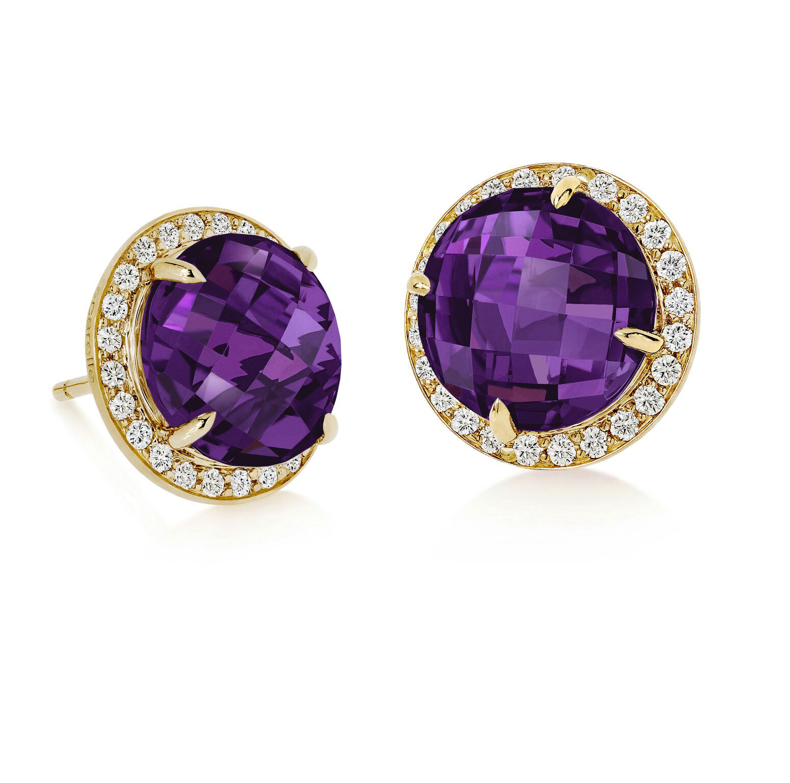 "Image of ""Amethyst and Diamond Halo Stud Carey Earrings"""