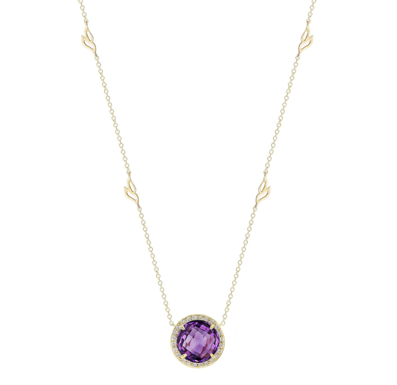 "Image of ""Amethyst and Diamond Halo Pendant With Leaf Detail Chain 18"""