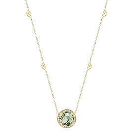 Green Quartz and Diamond Halo Pendant With Leaf Detail Chain 18