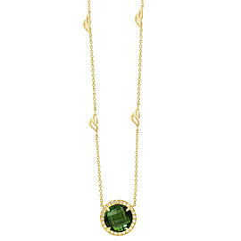 Green Tourmaline and Diamond Halo Pendant With Leaf Detail Chain 18