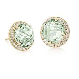 Green Quartz and Diamond Halo Stud Carey Earrings