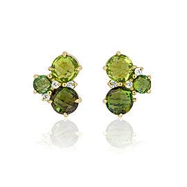 Green Tourmaline, Peridot and Diamond Cluster Post Stud Earrings