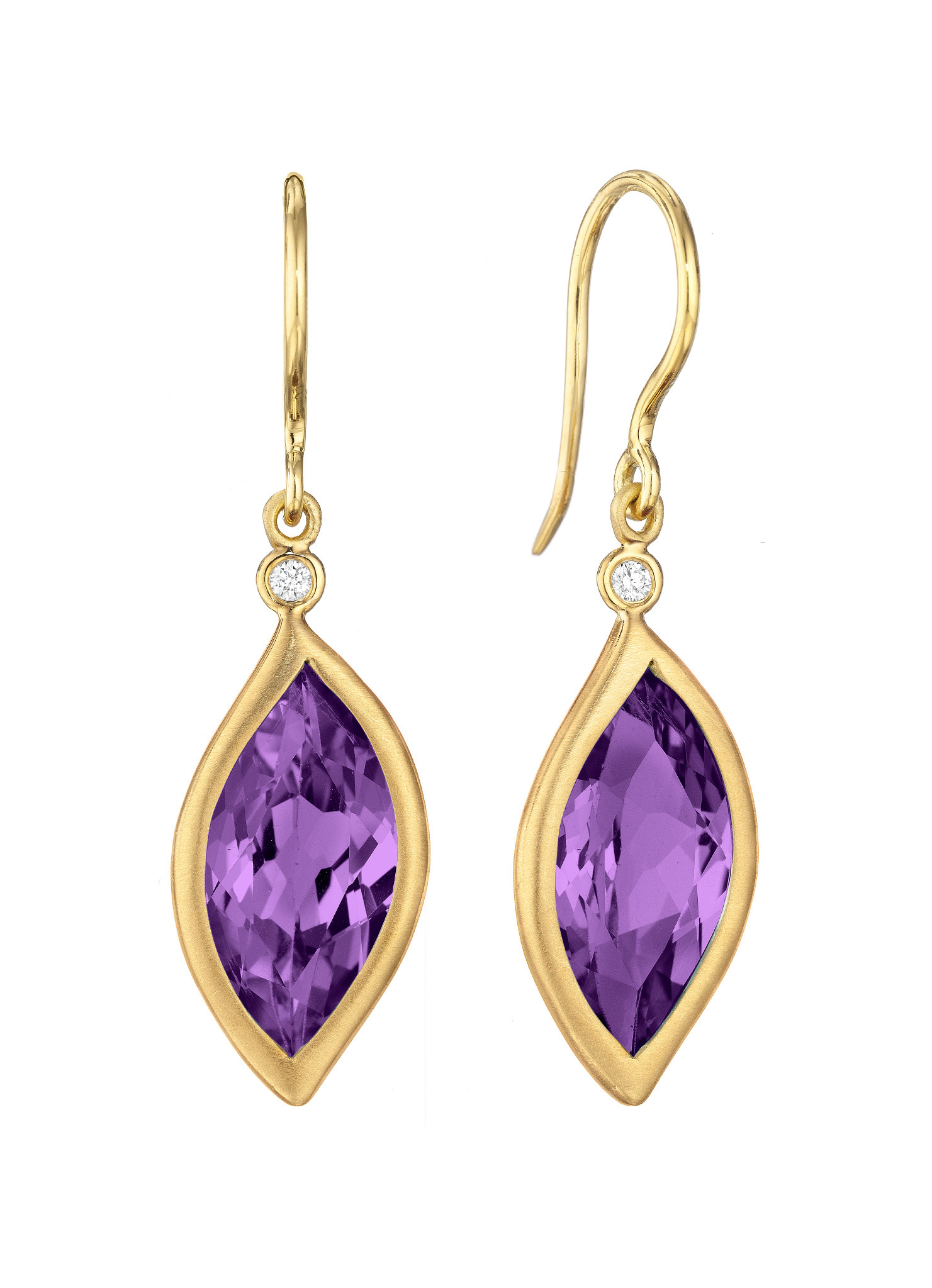 "Image of ""Amethyst and Diamond Leaf Hook Drop Earrings"""
