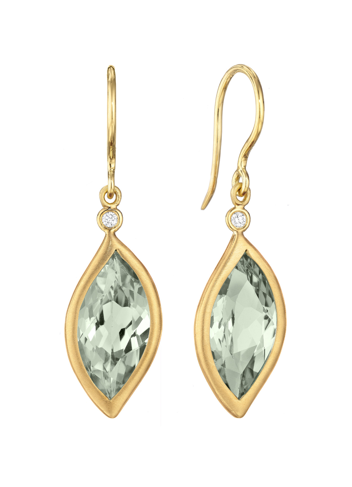 "Image of ""Green Quartz and Diamond Leaf Hook Drop Earrings"""