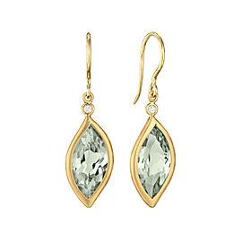 Green Quartz and Diamond Leaf Hook Drop Earrings