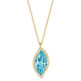 Blue Topaz and Diamond Halo Leaf Pendant 16