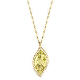 Lemon Quartz and Diamond Halo Leaf Pendant 16