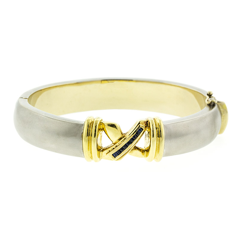 "Image of ""18k White And Yellow Gold Contemporary Citra Sapphire Bracelet"""