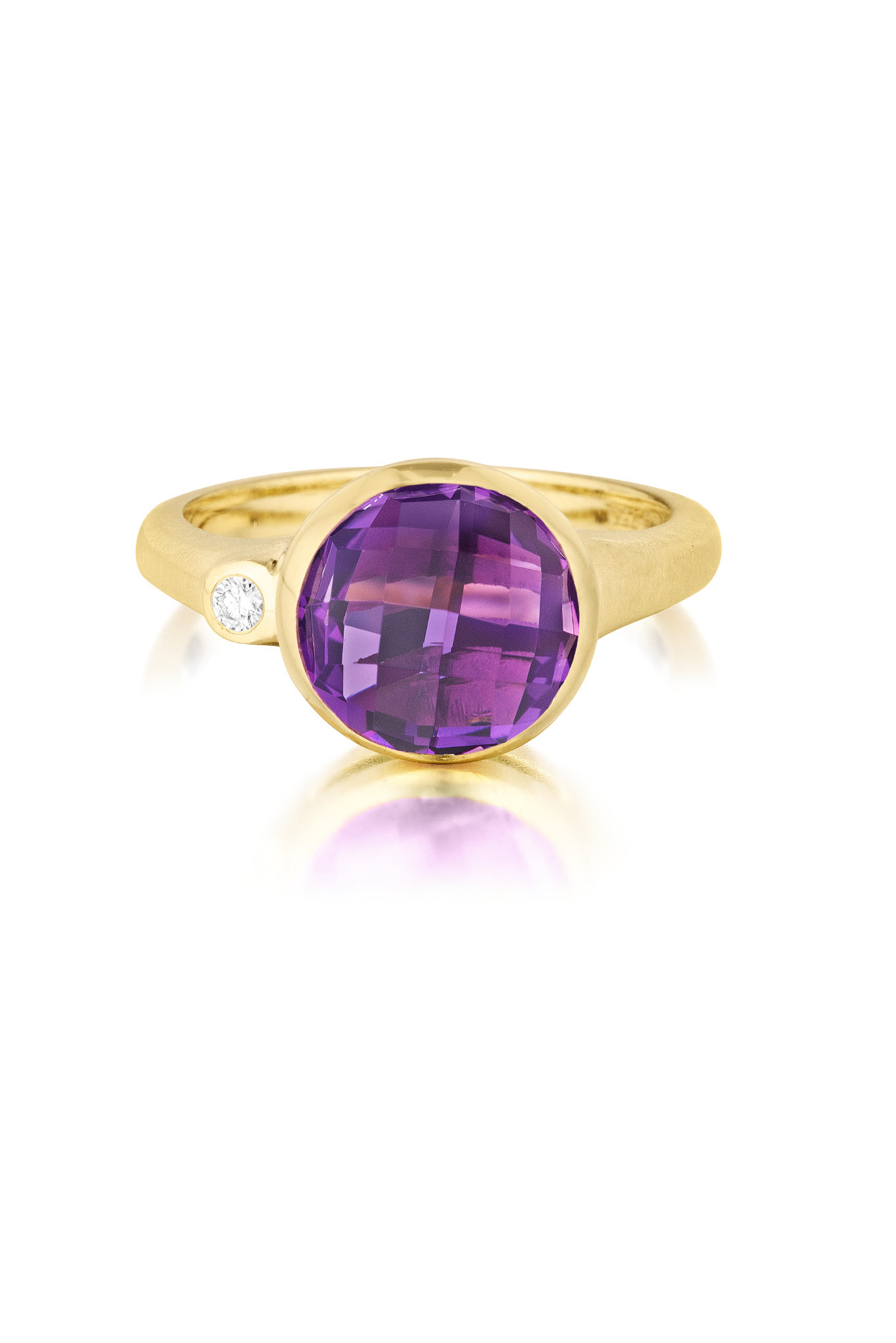 """Image of """"Round Amethyst and Diamond Stack Ring"""""""