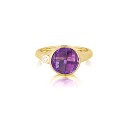 Round Amethyst and Diamond Stack Ring