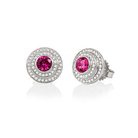 Red Spinel and Diamond Halo Stud Earrings