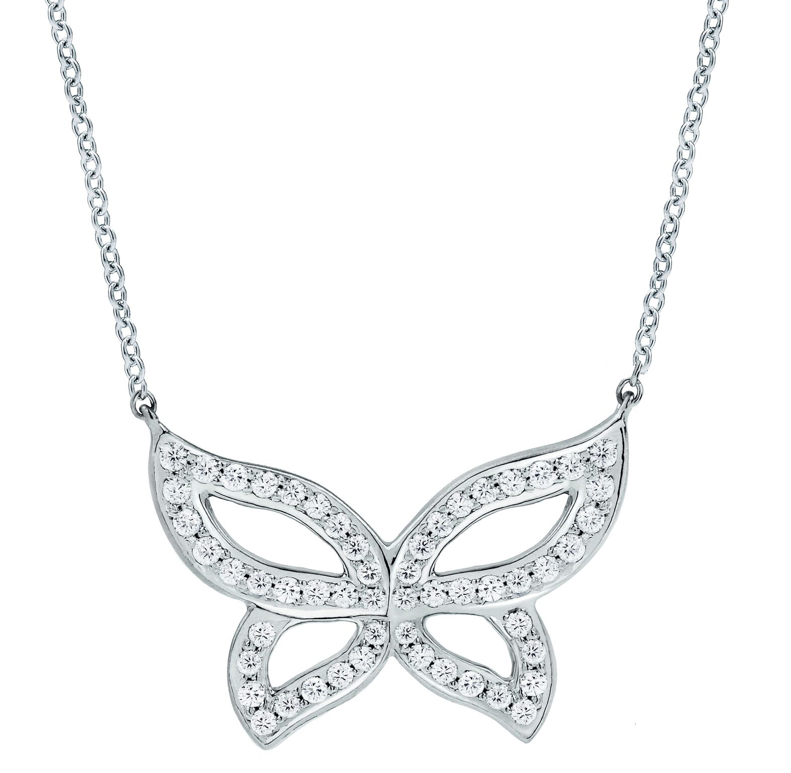 "Image of ""Small Pave Diamond Butterfly Necklace 16"""