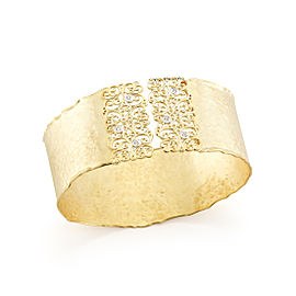 Yellow Gold Matte and Hammer-finish Filigree Scalloped-edge Cuff Bracelet