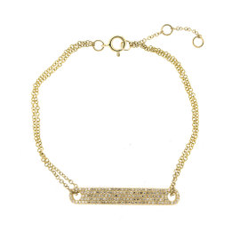 14k Yellow Gold and Diamonds Bar ID bracelet