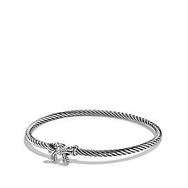 David Yurman Sterling Silver & 0.01ct Diamond Cable Bow Bangle Bracelet
