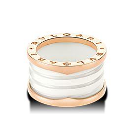 Bulgari B. Zero 1 18K Rose Gold & White Ceramic 4 Band Ring Size: 5.75